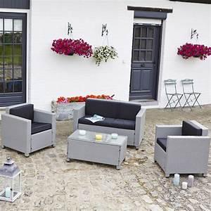 Salon En Resine : salon de jardin en r sine tress e rossi gris teckandco ~ Teatrodelosmanantiales.com Idées de Décoration