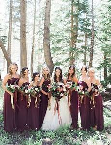 fall wedding inspiration maroon bridesmaids in long wine With fall wedding bridesmaid dresses