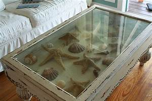 Seashell shadow box tables inspire reef for Themed coffee tables
