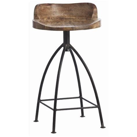 arteriors home henson wood iron swivel counter stool 6535