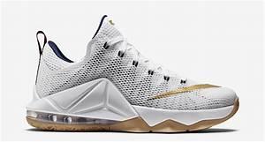 Nike LeBron 12 Low USA White Metallic Gold - Sneaker Bar ...