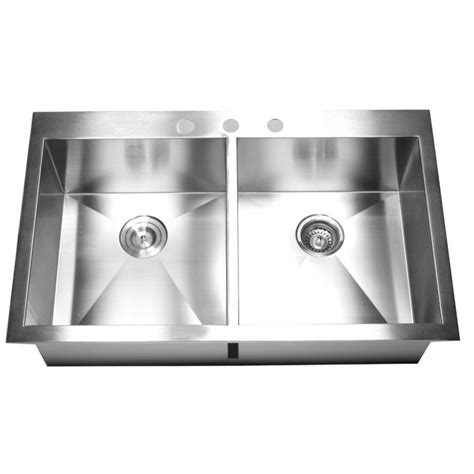 two sinks in the kitchen 36 inch top mount drop in stainless steel bowl 8607