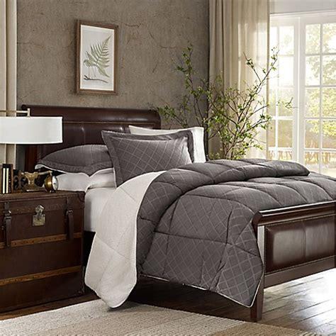 embossed velvet  berber reversible comforter set  charcoalivory bed bath