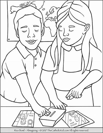 Coloring Rice Bowl Lent Catholic Children During