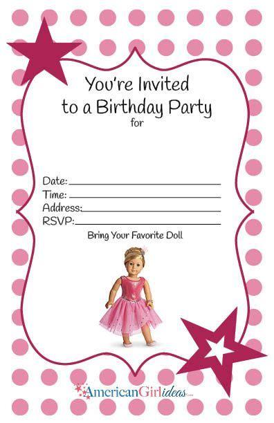 american girl birthday party invitations  printables