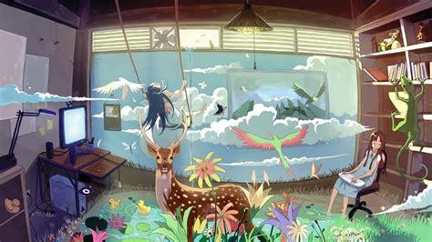 wallpaper engine anime sleeping inspirational bedroom animal anime colorful room