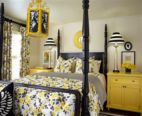 blackwhite  yellow bedroom ideas