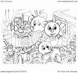 Coloring Bears Three Kitchen Outline Clipart Pages Mess Allis Royalty Illustration Chalmers Discovering Tractor Bannykh Alex Rf Template sketch template