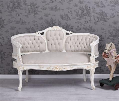 shabby chic sofa uk samtsofa antik sofa shabby chic sitzbank samt sofabank weiss couch rokoko bank ebay