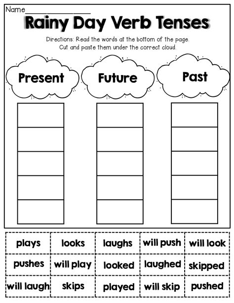 verb tenses cut and paste 1st grade activities