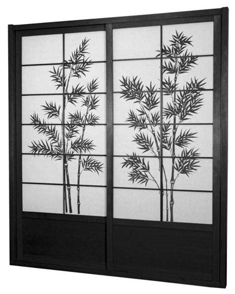 ft tall bamboo tree shoji sliding door kit black