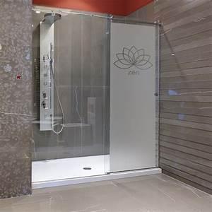 sticker porte de douche zen fleur de lotus stickers With porte de douche coulissante avec stickers pour carreaux salle de bain