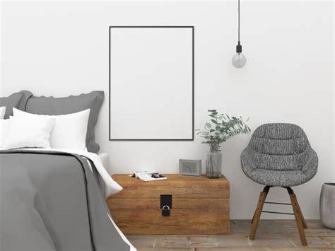 nordic bedroom wall art mockup photo premium