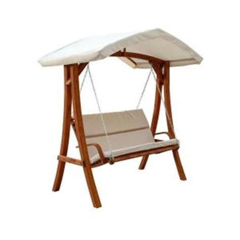 Patio Swings With Canopy Home Depot by Leisure Season Wooden Patio Swing Seater With Canopy
