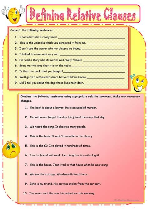 all worksheets 187 relative clauses worksheets with answers