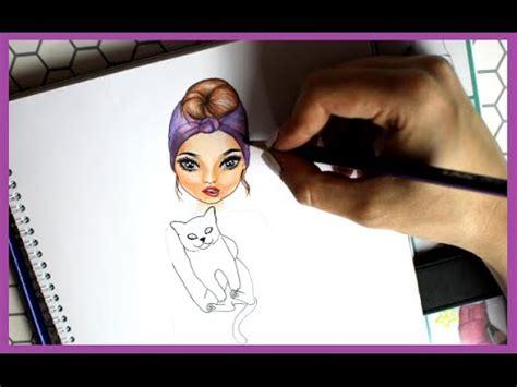 topmodel malbuch   draw frisur mit kopftuch