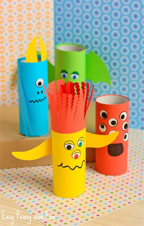 paper roll monsters halloween crafts  kids easy