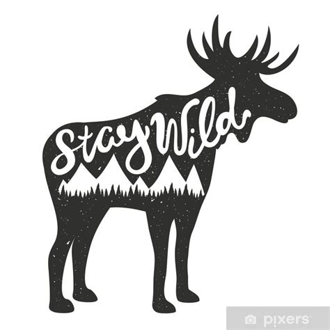 vector illustration  moose silhouette  lettering