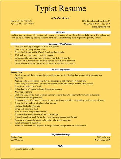 Typist Resume Format by Typist Resume Sles For Microsoft Word Doc