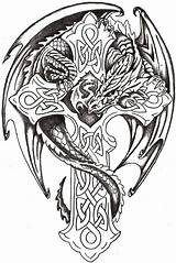 Coloring Cool Cross Wings Pages Dragon Skull Gothic Rose Drawing Rocks Things Undead sketch template