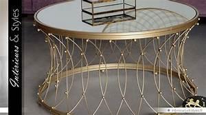 Plateau Miroir Rond : table basse ronde en m tal dor avec plateau miroir 90 ~ Teatrodelosmanantiales.com Idées de Décoration