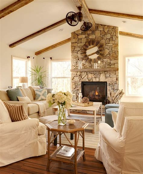 Decorating Ideas Vaulted Ceilings by Vaulted Ceiling With Wood Beams Fireplace