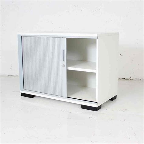 White Storage Cupboard With Doors by White Tambour With Singular Silver Door Office Storage