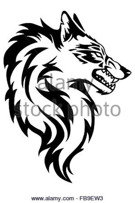 wolf face silhouette stock vector art illustration