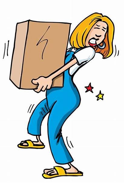 Cartoon Heavy Lifting Clipart Box Woman Pain