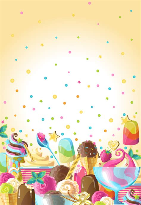 Ice Cream Elements Background Vector 04 Free Download
