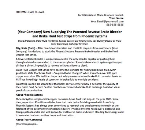 press release template phoenix systems