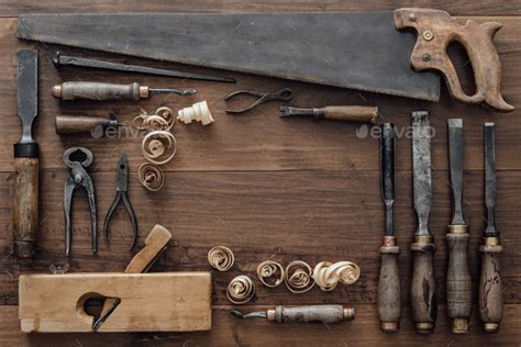 collection  vintage woodworking tools stock photo