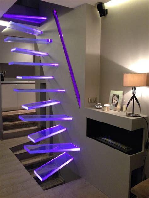 applique cuisine led escalier verre lumineux aero à pas décalés aero lighting
