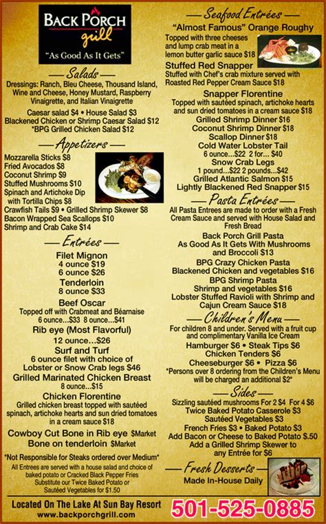 back porch destin menu back porch menu the back porch restaurant in lake alfred