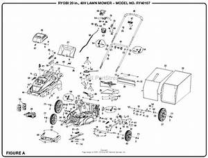 Homelite Ry40107 20 In  40 Volt Lawn Mower Parts Diagram