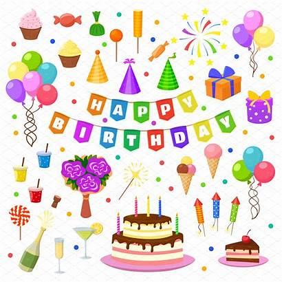 Birthday Happy Party Symbols Vector Objects Graphics
