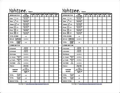 printable yahtzee score sheets yahtzee score sheets