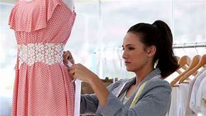 Hispanic Woman At Work As Fashion Designer And Tailor ...