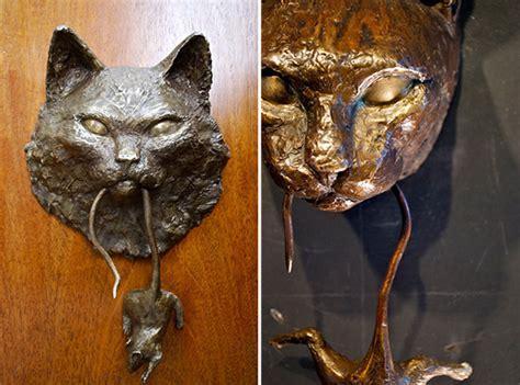 cat door knocker original bronze cat mouse door knockers by derek