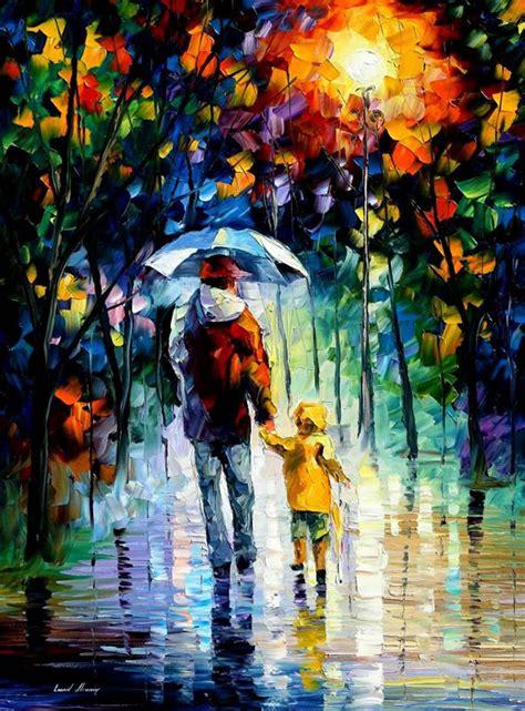 paintings pretty amazing famous painting afremov leonid daddy father night autumn paint rainy canvas artist rain portrait couple romantic painter