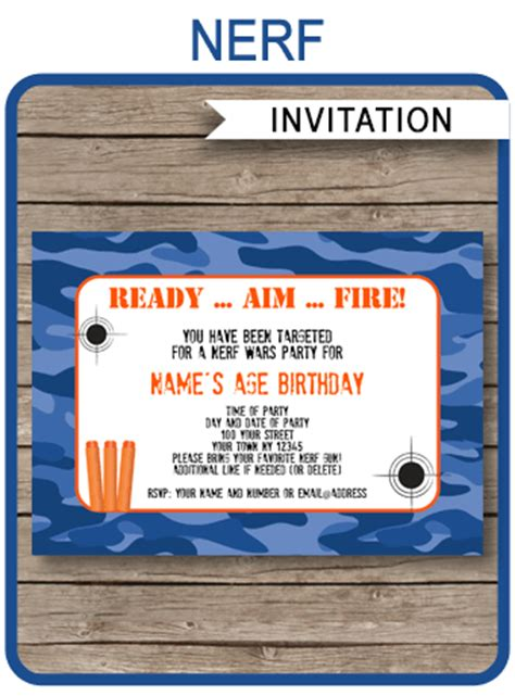 nerf birthday party invitations editable template blue