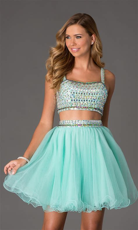 Two-Piece Crop Top Short Prom Dress NA-6031