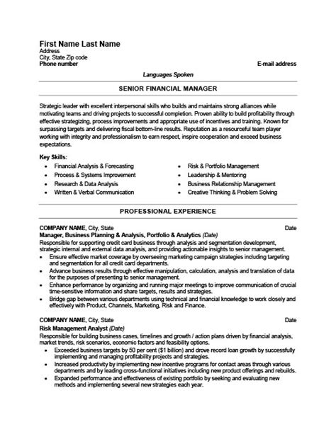 Financial Manager Resume Exle by Senior Financial Manager Resume Template Premium Resume Sles Exle