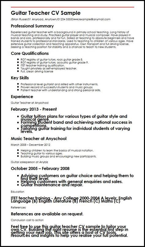 guitar teacher cv sample myperfectcv