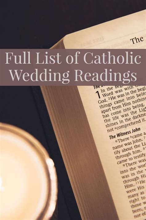 full list   options  catholic wedding readings
