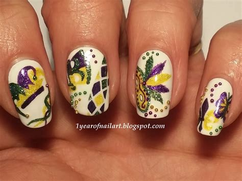 mardi gras nail designs 365 days of nail mardi gras carnival nails