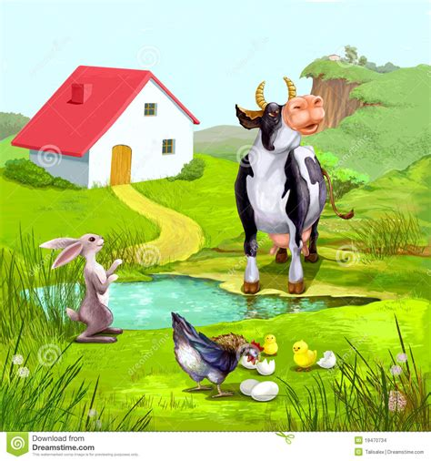 farm animals illustration stock illustration illustration