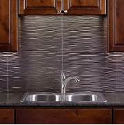 Fasade 24 In X 18 In Waves PVC Decorative Tile Backsplash In Brushed Wall Panel 3d Decorative Wall Covering Panels Decorative Kitchen Wall Custom Kitchen Sinks Kitchen Wall Panels Modern And Elegant Kitchen Wall Panel With City
