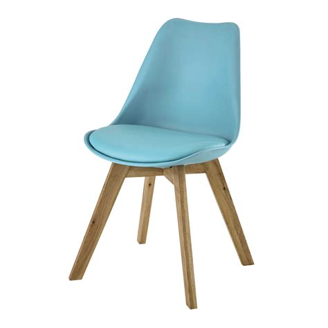 polypropylene and oak chair in blue maisons du monde