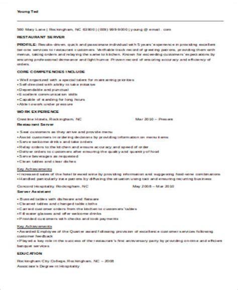 Server Resume Templates Word by Sle Restaurant Server Resume 6 Exles In Word Pdf